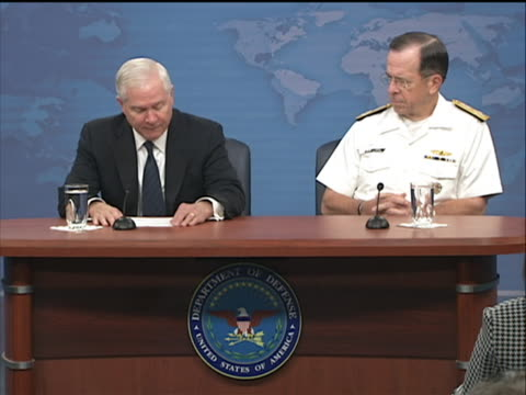 defense secretary robert m gates and navy admiral mike mullen chairman of the joint chiefs of staff briefed the pentagon press on defense spending... - business or economy or employment and labor or financial market or finance or agriculture stock videos & royalty-free footage