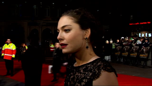 Arrivals Alexa Davalos along on red carpet and interviewed by press SOT Alexa Davalos interview SOT On working with Daniel Craig On Oscar hopes no...
