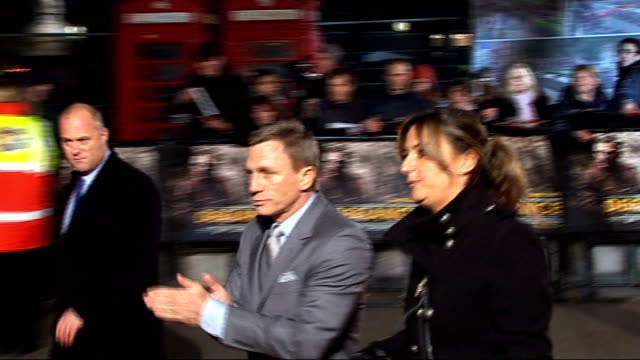 arrivals daniel craig along to speak to press on red carpet - daniel craig stock videos and b-roll footage
