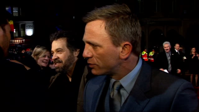 Arrivals Daniel Craig as interviewed by press SOT Daniel Craig interview SOT On fans coming out in the cold weather His shoe size his first car Craig...