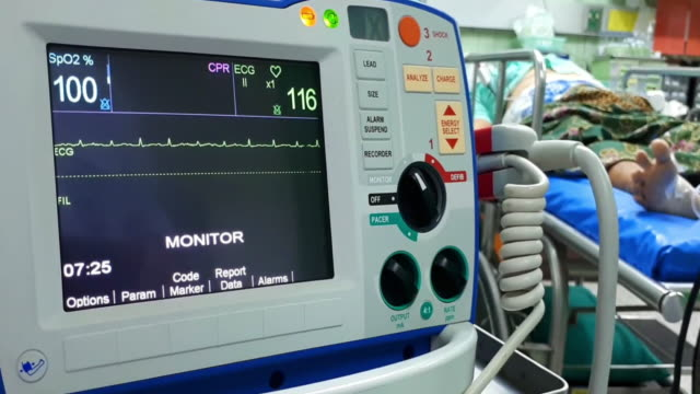 defibrillation is a treatment. - ventricolo cardiaco video stock e b–roll