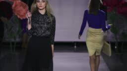 Defile beautiful women hold umbrella catwalk model show vogue. Girl podium 4k.