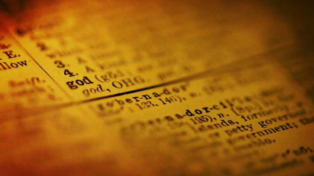 stockvideo's en b-roll-footage met definition of god - westers schrift