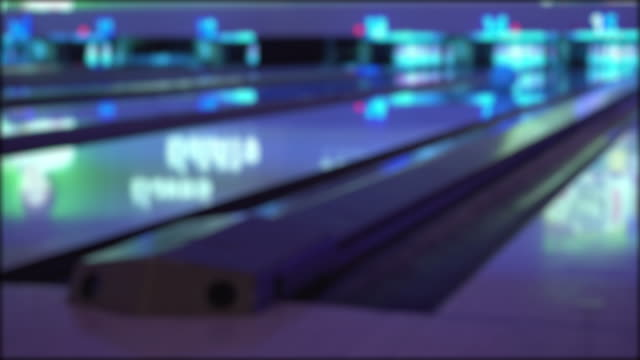 defocus bowling ball strike shot copy space - bowling alley stock videos & royalty-free footage