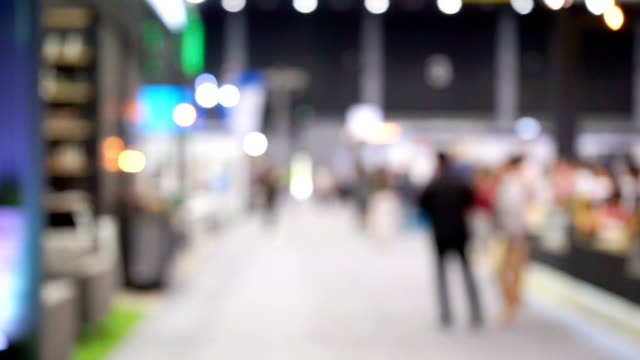 defocus people in exhibition mall - tradeshow stock videos & royalty-free footage