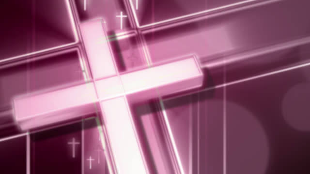 defocused abstract background of christian cross in purple - design element stock videos & royalty-free footage