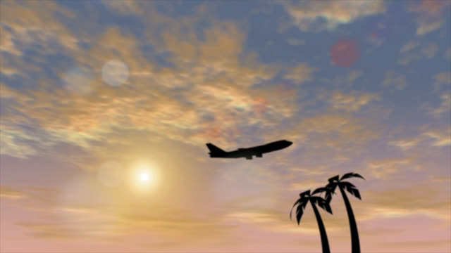 defocused abstract background of plane leaving in dramatic sky - design element stock videos & royalty-free footage