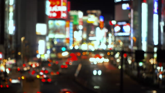 defocused background image of the central tokyo - tail light stock videos & royalty-free footage