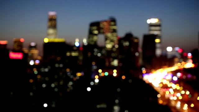defocused city night,beijing,china - defocussed stock videos & royalty-free footage
