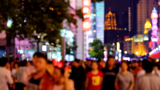 defocused crowded street - shanghai stock videos & royalty-free footage