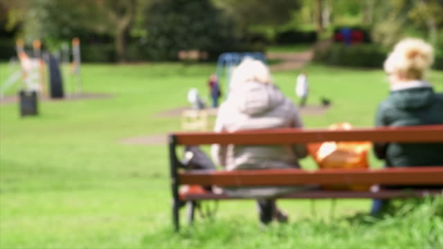 vídeos de stock, filmes e b-roll de a defocused long shot of two old women sitting together on a bench overlooking a busy park full of families with children - equipamento doméstico