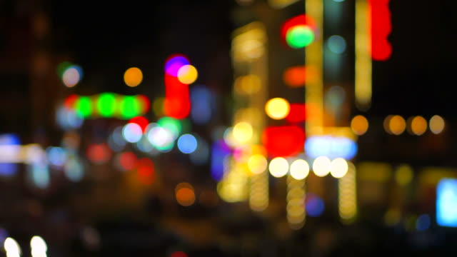 defocused night life and traffic in sa-pa ,vietnam - sa pa stock videos and b-roll footage
