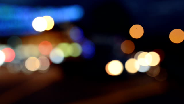 Defocused of Busy Traffic at Night, Singapore