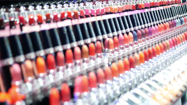defocused of colorful lipsticks background - collection stock videos & royalty-free footage