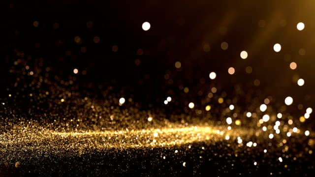 vídeos de stock e filmes b-roll de defocused particles background (gold) - loop - plano de fundo