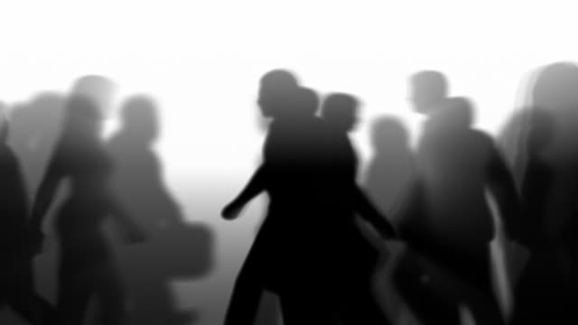 defocused people walking by (silhouette) - black and white stock videos & royalty-free footage