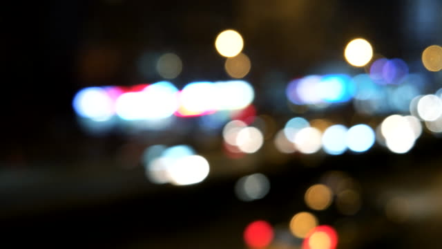 Defocused View of Night driving in Beijing, China (Driving/Process Plates)