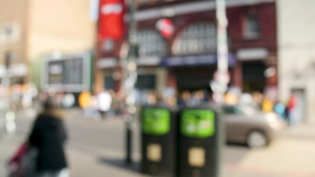 defocussed shot of camden town tube entrance - street style点の映像素材/bロール