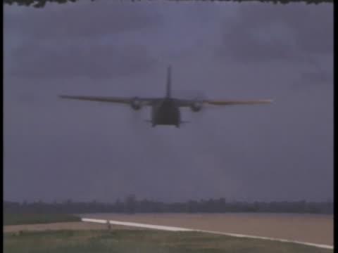 defoliation sprayer planes take off from bien hoa afb in south vietnam. - south vietnam stock videos & royalty-free footage
