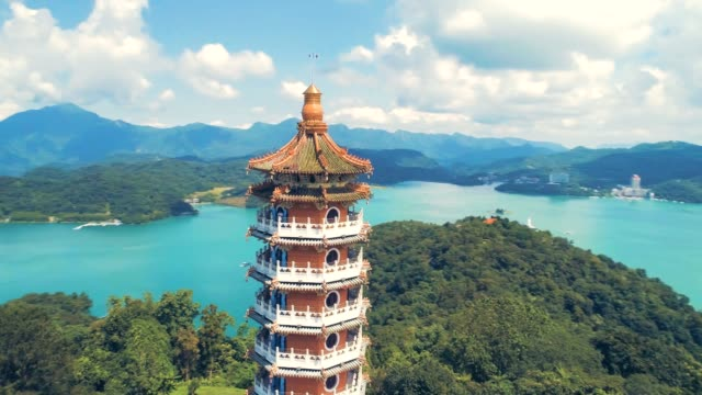 360 degree view of pa cien pagoda in nantou - wen wu temple stock videos and b-roll footage