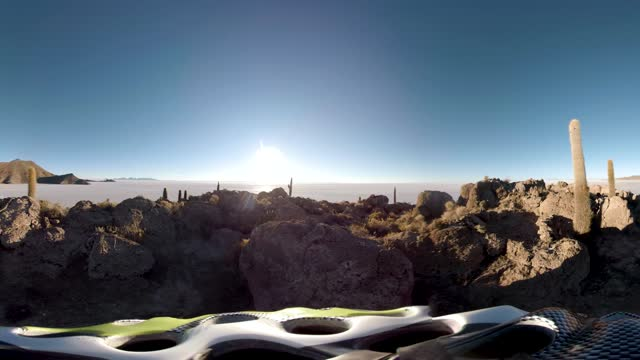 360 degree view of the many cactuses on a mountain next to the salar de uyuni, the largest salt flat in the world - natural condition stock videos & royalty-free footage