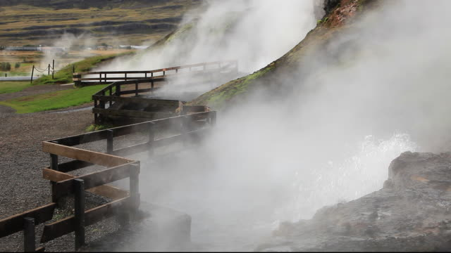 Deildartunguhver, Europes largest hot spring near Kleppjarnsreykir, in Iceland. It pumps out 180 litres per second of water at 97 degrees centigrade. 30% of Icelands electricity is generated from geothermal energy.