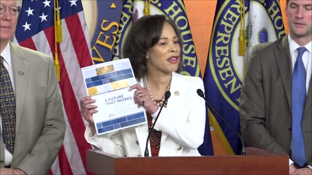 delaware congresswoman lisa blunt rochester says the future that works plan stands forward to exert leadership to show america new democrats have... - gas station attendant stock videos and b-roll footage
