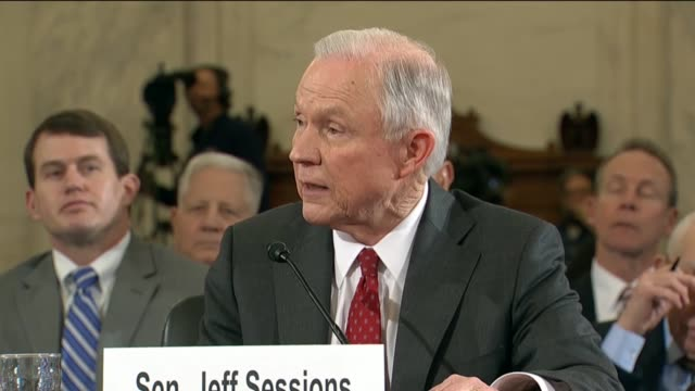 delaware senator chris coons asks senator jeff sessions of alabama at his nomination hearing to become attorney general about the supreme court case... - court hearing stock videos & royalty-free footage