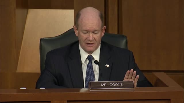 delaware senator chris coons says at a senate judiciary committee business meeting in debate on whether to report the supreme court nomination of... - politics abstract stock videos & royalty-free footage