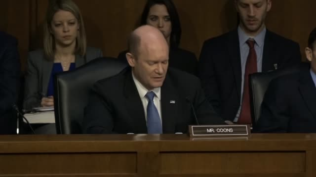 delaware senator chris coons says on the first day of the confirmation hearing for judge neil gorsuch to the supreme court that he will support a... - court hearing stock videos & royalty-free footage