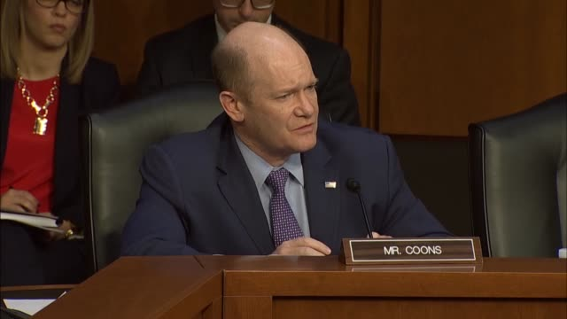 delaware senator christopher coons asks justice department inspector general michael horowitz at a senate judiciary committee hearing about his... - christopher a. wray stock videos & royalty-free footage