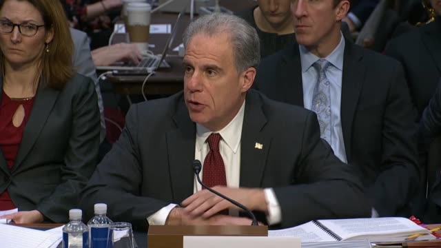 delaware senator christopher coons asks justice department inspector general michael horowitz at a senate judiciary committee hearing about his... - michael horowitz stock videos & royalty-free footage