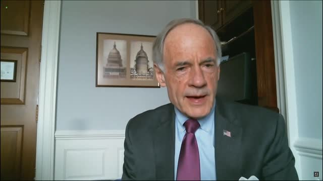 vidéos et rushes de delaware senator tom carper says by videoconference to a joint senate committee hearing in review of 6 january capitol insurrection that the great... - ouverture du diaphragme