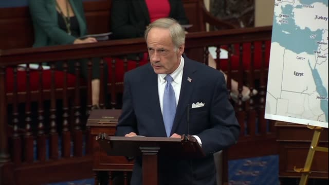 delaware senator tom carper says in a discussion about the us military withdrawal from syria directed by president donald trump that columnist tom... - columnist stock videos & royalty-free footage