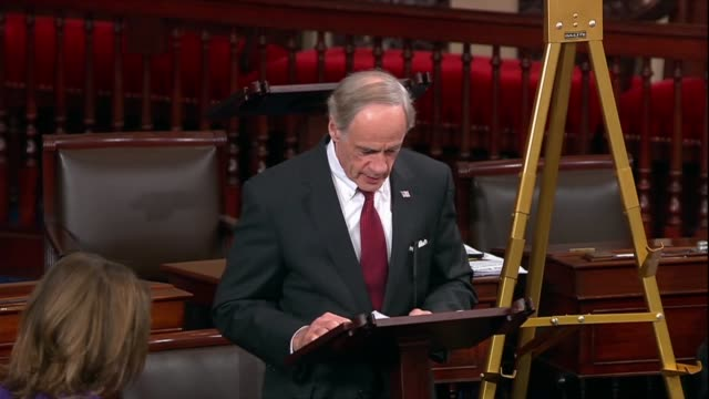 delaware senator tom carper says says after the cop24 climate change summit in poland that the international community had positively come together... - paris agreement stock videos & royalty-free footage