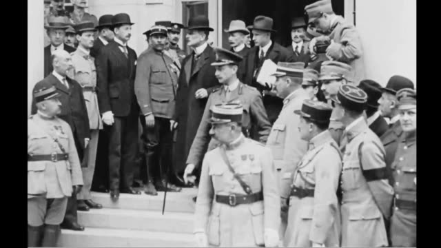 delegates arriving at quarters of german delegation in trinanon palace hotel in versailles marshal ferdinand foch premier georges clemenceau... - versailles video stock e b–roll