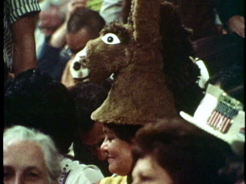 delegates attend the 1972 democratic national convention in miami beach florida - donkey stock videos & royalty-free footage