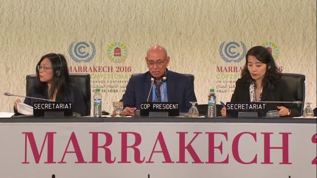 delegates attended the plenary session of the cop 22 climate conference in marrakech late thursday - thursday stock videos and b-roll footage
