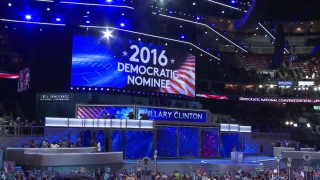 delegates celebrate after hillary clinton becomes the first woman in history to win the white house nomination of a major us political party securing... - nomination stock videos & royalty-free footage