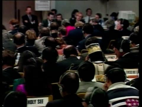 delegates listening to debates on headphones kyoto earth summit 1997 - 1997 stock videos & royalty-free footage