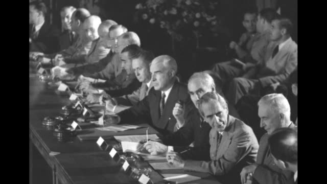 delegates seated at table / delegates at tables others seated behind / various shots closer view delegates including us deputy secretary of state... - cordell hull stock videos and b-roll footage
