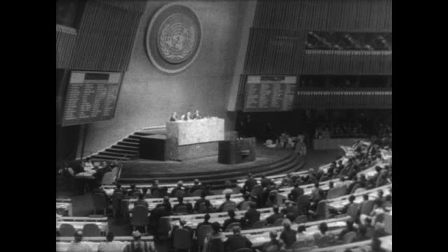 delegates seated at the opening of the 22nd general assembly of the united nations in ny / entire cuban delegation walks out of the session /... - romania stock videos & royalty-free footage