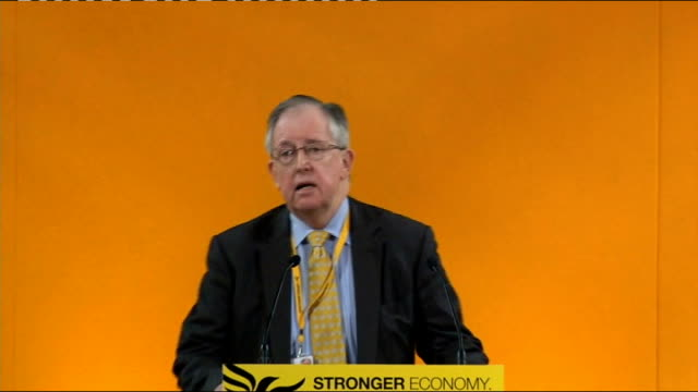 delegates sitting wide shot of unidentified person speaking on conference stage jo shaw speech sot - the party which stood up against 42 day... - human stage stock videos & royalty-free footage