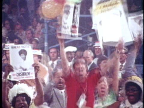 vídeos de stock e filmes b-roll de delegates support united states representative shirley chisolm during the 1972 democratic national convention in miami beach florida - partido democrático eua