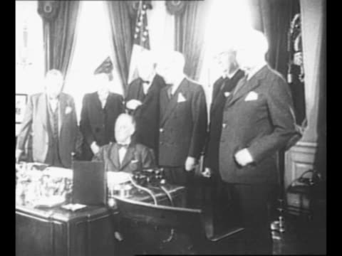 us delegates to the san francisco united nations conference on international organization enter the white house to meet with president franklin... - virginia us state stock videos and b-roll footage