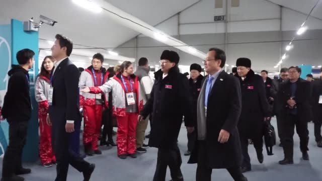 a delegation of north korean skiers and skaters arrived in the south on thursday to take part in the winter olympics later this month seoul's... - südkorea stock-videos und b-roll-filmmaterial
