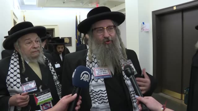 a delegation of orthodox jewish rabbis expressed solidarity wednesday with us rep ilhan omar after she was criticized for making antisemitic comments... - orthodox judaism stock videos & royalty-free footage