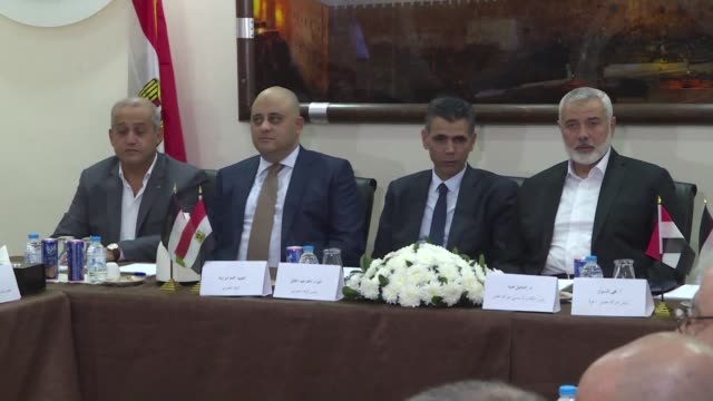 a delegation of palestinians factions in gaza headed by hamas leaders yahya sinwar and ismail haniyeh meet with an egyptian delegation in gaza city - hamas stock videos & royalty-free footage