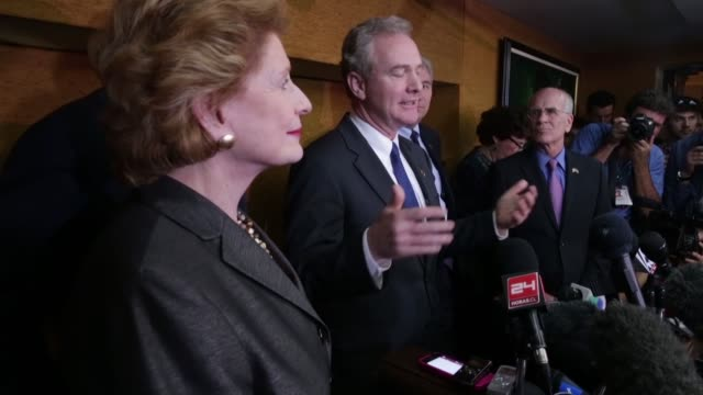 A delegation of US politicians including Sen Patrick Leahy Rep Chris Van Hollen and Sen Richard Durbin hold a news conference at the Hotel Saratoga...