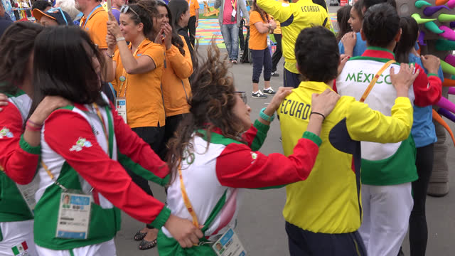 delegations of ecuador and mexico during the welcome ceremony in the athlete village during the pan am games on july 8, 2015; in toronto, ontario,... - olympische spiele stock-videos und b-roll-filmmaterial
